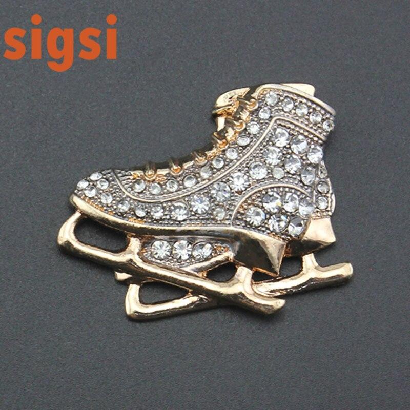 50/100 pièces chaussures de patin à roulettes en métal doré broche en strass acrylique