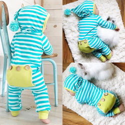 Newborn baby boy girl cotton infant bodysuit hooded clothes set.jpg 250x250