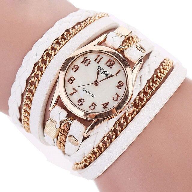 Luxury Brand Vintage Leather Bracelet Watch Men Women Wristwatch Ladies Dress Qu
