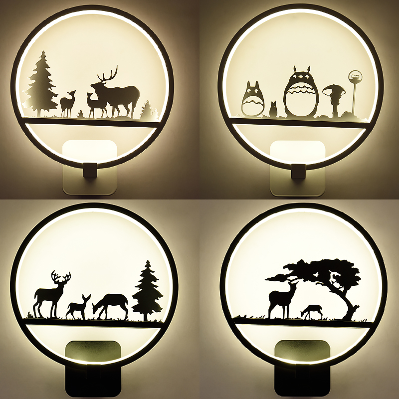 все цены на The Bedroom Living Room Aisle Stairs Lamp Bedside Lamp Art Simple Modern led Wall Lights Creative Children Circular Wall Lamp