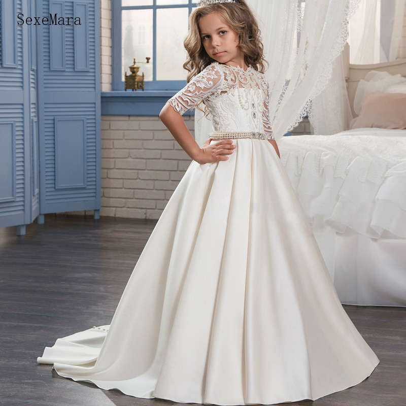 Gorgeous Satin   Flower     Girl     Dress   with Lace Pearls Crystals For Wedding   Girls   Pageant Gowns Real Picture Any Size and Any Color