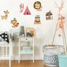 Nordic Style Tribal Bear Fox Rabbit Woodland Animals Vinyl Wall Sticker mural For Kids Rooms Decoration Nursery Bedroom Decor