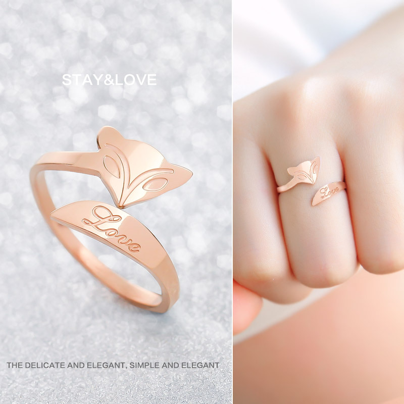 316L Titanium rings Rose Gold finger The Fox ring wedding engagement 3 Layer Plated Never Fade Rings women jewelry wholesale