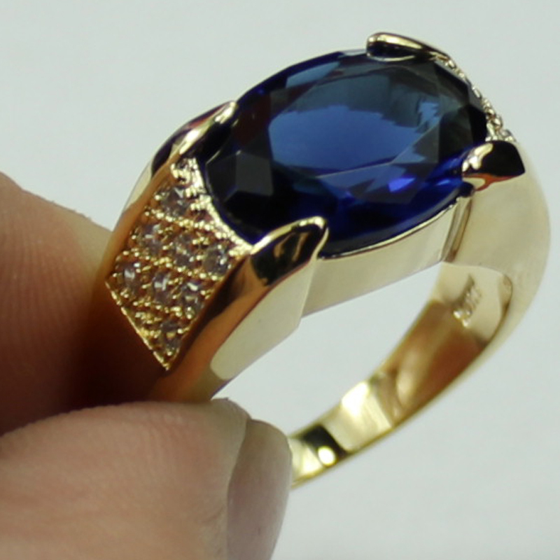 Jenny G Jewelry Size 9.10,11 Classic Blue Sapphire 10KT Yellow ...