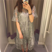 2017 Hollow Out White Mesh Lace Women Dress Summer Style Long Sleeve O Neck Sexy Dresses Elegant Evening Party Beach Vestidos Ho