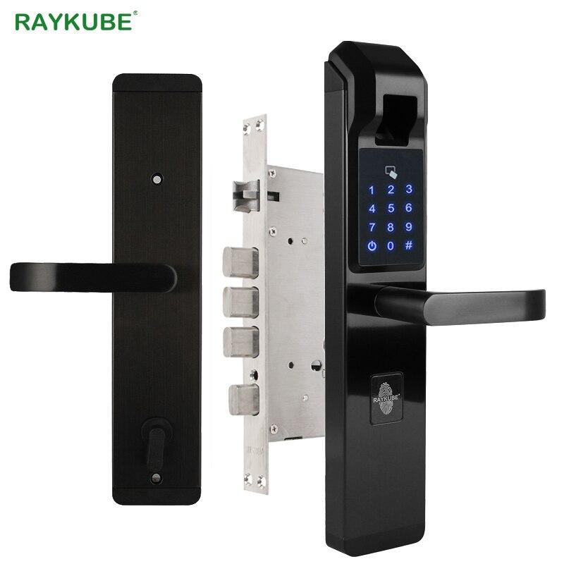 RAYKUBE biométrico cerradura de puerta de huella digital cerradura electrónica inteligente verificación de huella digital con contraseña y desbloqueo RFID R-FZ3