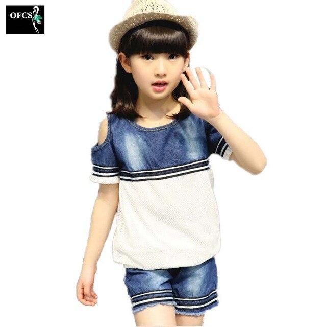Verano venta Niñas Caballero camisa Vaqueros Pantalones cortos Pantalones  cowboy set trajes de niño traje ropa a47815c44a2