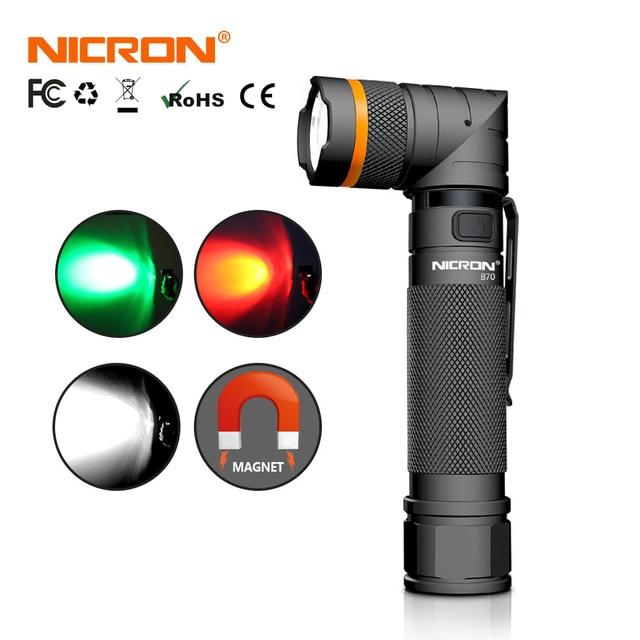 NICRON Magnet 90 Grad Wiederaufladbare LED Taschenlampe Handfree 800LM Ultra Hohe Helligkeit Wasserdicht Camo Ecke LED Taschenlampe B70