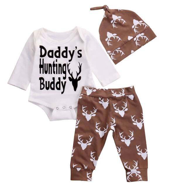 c47b7fc3e 3PCS Newborn Baby Boys Girls Clothes Cotton Daddy's Hunting Buddy Romper  Deer Deer Pants Hat Outfits Infant Toddle Clothing Set
