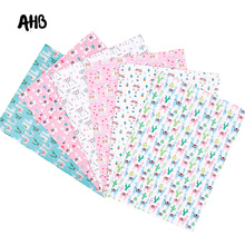 AHB Synthetic Leather Fabric Cactus Alpaca Printed Faux Leather Sheets For DIY Kids Hair Accessories Theme Party Decor Materials цена и фото