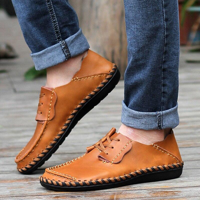 Merkmak Men Leather Shoes Casual Autumn Fashion Shoes