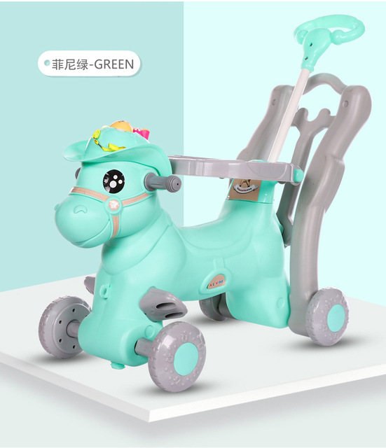 Baby Rocking Chair Children Ride on Horse Toy Stroller with Music Infant Rocker Chair Foldable Four Wheels Baby Stroller 3 In 1 5