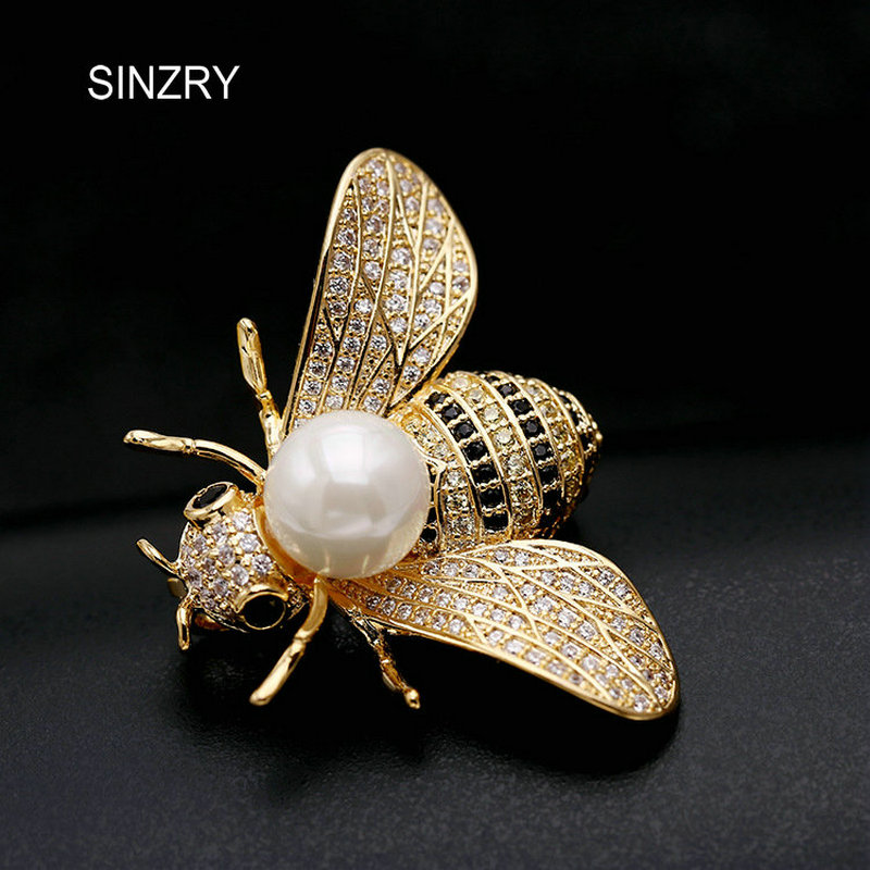 SINZRY new cute jewelry accessory gold color full cubic zircon bee brooches pin elegant OL scarf buckles sinzry elegant new 2018 cubic zirconia yellow daisy flower suit brooches pin lady scarf buckle jewelry accessory for women
