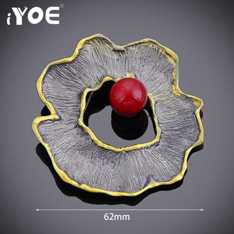Iyoe Unik Simulasi Mutiara Wanita Bros Vintage Antik Logam Bulat Bunga Bros Pin Fashion Syal Perhiasan Aksesoris