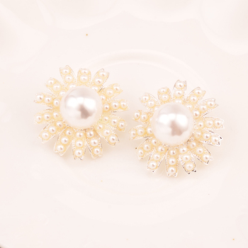 Rhinestone Pearl Button Used On Wedding Decoration 100PCS/Lot 28MM Silver Color Wedding Button Shank Back KD426