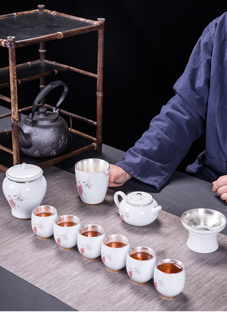 Pure Silver Kungfu Teaware Set Blue And White Porcelain Set Ceramic Teapot Six Inner Gallbladder Silver Tea Cup Gifts