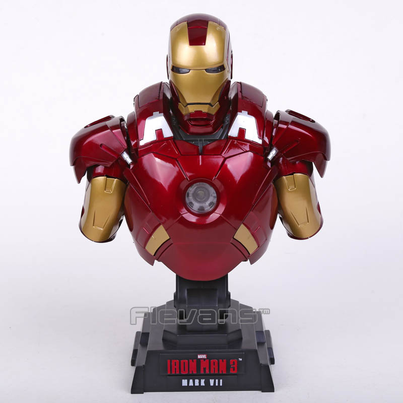 Iron Man 3 MARK VII MK7 1/4 Scale Limted Edtion Collectible Bust Figure Model Toy with LED Light 23cm