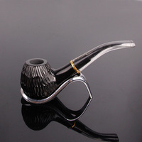 Black Ebony Wood Activated Carbon Filter Smoking Pipe Manual Tobacco Pipes Cigar Narguile Weed Grinder Smoke