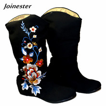 Spring/Autumn Floral Embroidered Cotton Fabric Flat Casual Boots Vintage Mid-calf Slip-on Women Shoe Round Toe Rubber Sole