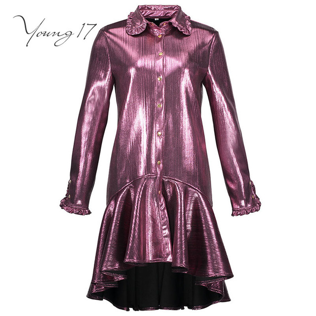 ea286d26a88c Young17 street dress 2018 autumn women dress solid fuchsia metal ...