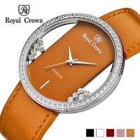 Rhinestones de lujo claro mujeres reloj Japón cuarzo horas bellas moda cuero pulsera regalo de cumpleaños de la muchacha corona real