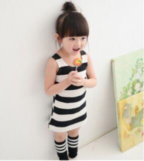 2019 baby girls sleeveless dress Korean Princess T-shirt striped dress baby girl clothes