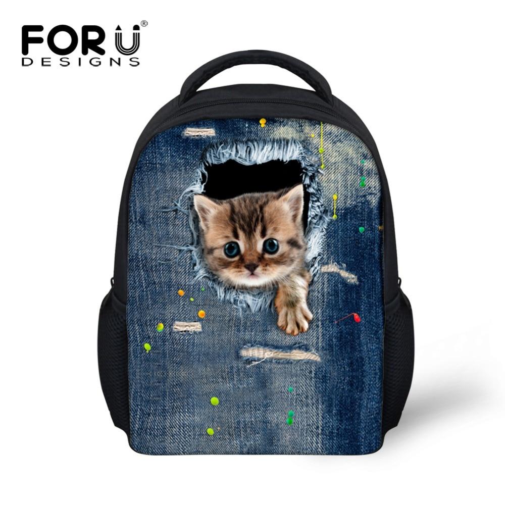 Designer Kids reppu söpö 3D eläin denim kissa painatus koulun reppu lapsille Pienet pojat tytöt lastentarha laukut Mochila