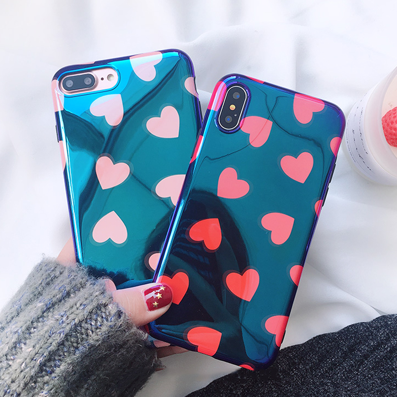 Blu-Ray Phone Iphone 6 6S 7 8 Plus X Cool Pink &Amp; Red Heart Soft IMD Phone Back Cover Cases Full Protector