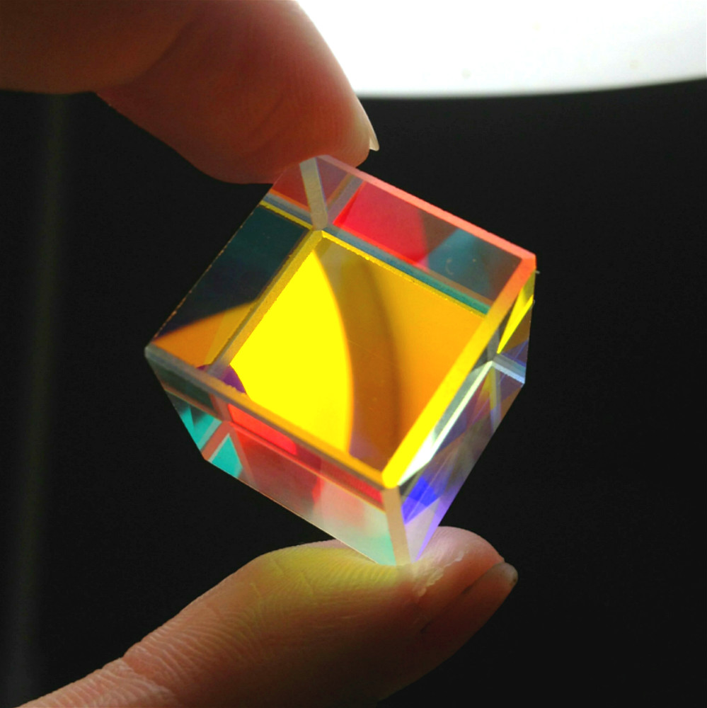 Prism Six-Sided Bright Light Combine Cube Prism 20*20*20mm Stained Glass Beam Splitting Prism Optical Experiment Instrument