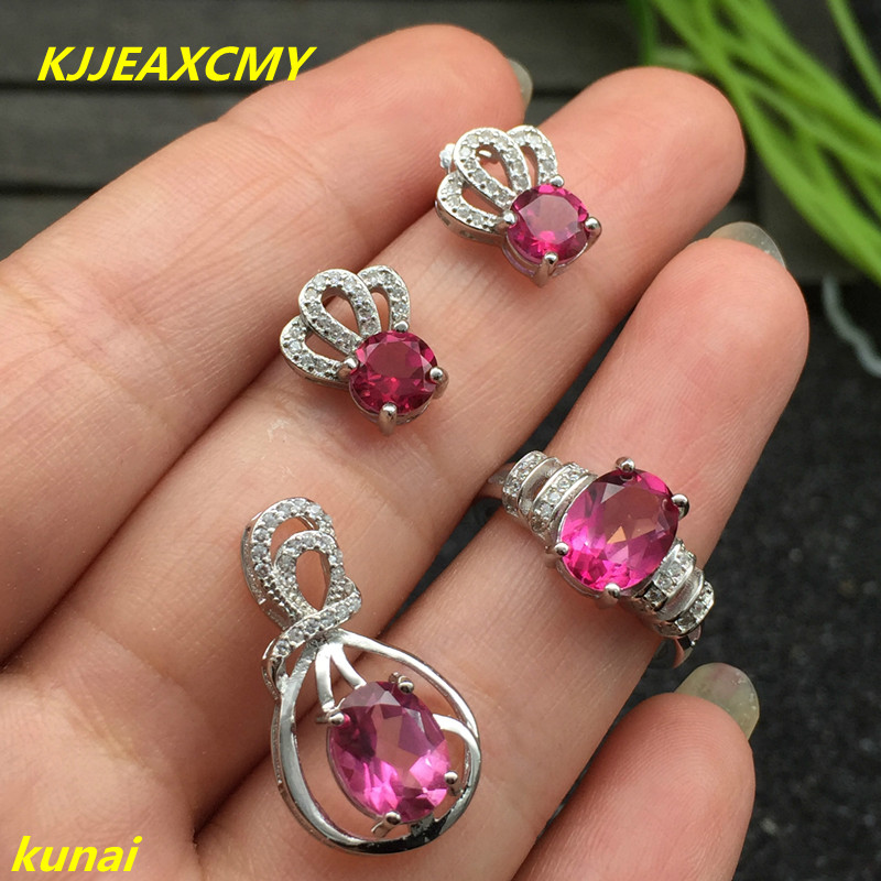 KJJEAXCMY boutique jewels 925 silver inlay natural Pink Topaz Ring Pendant Earrings 3 suit jewelry necklace sendfgh kjjeaxcmy boutique jewels 925 silver inlay natural pink topaz ring pendant earrings bracelet 4 suit jewelry necklace sen