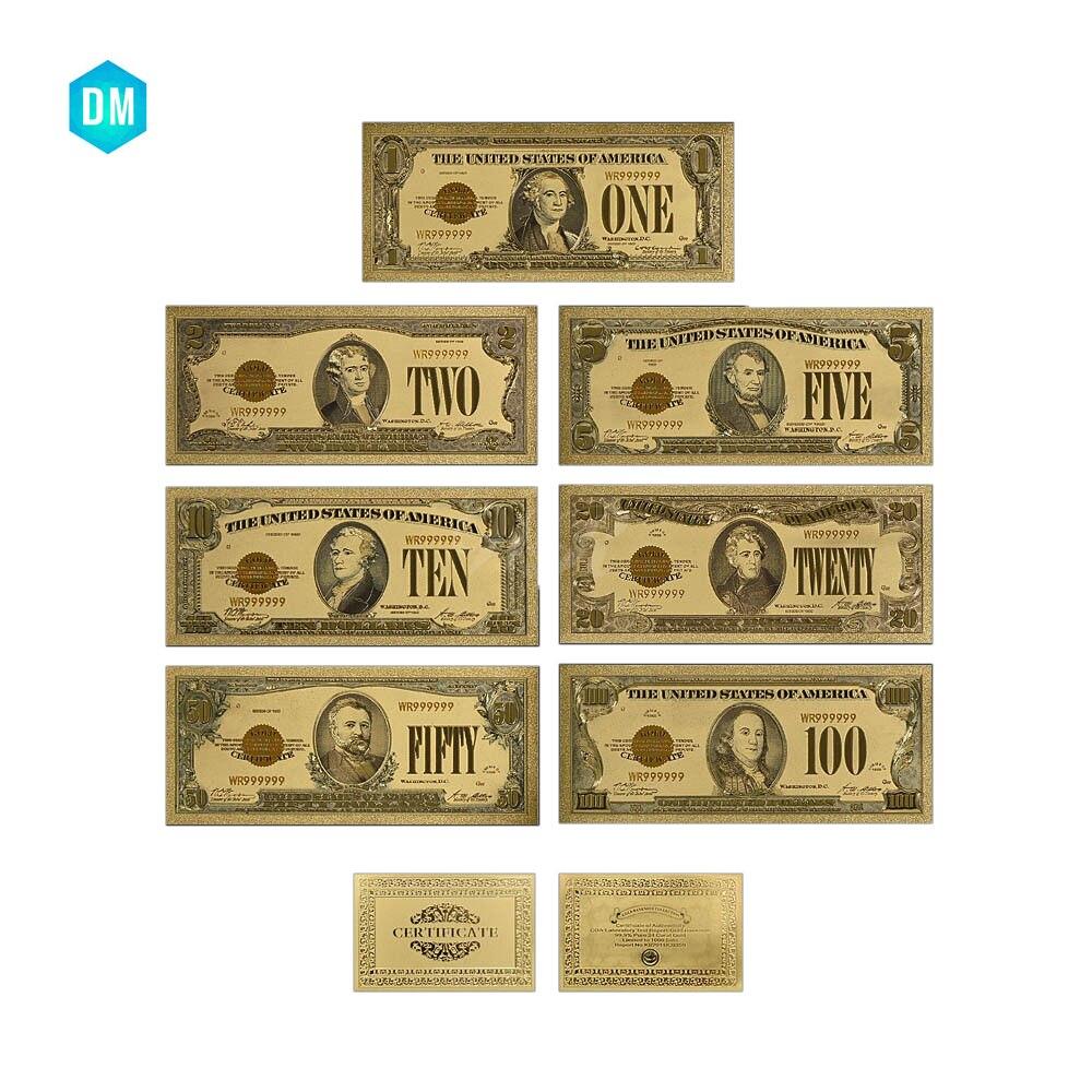 1928 jahr Amerikanischen Bunte Gold Banknote Set Usd 1 2 5 10 20 50 ...