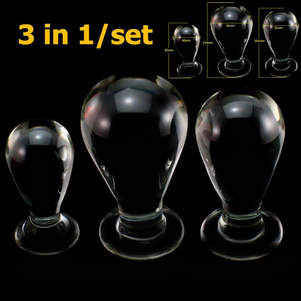 3pcs set big glass anal balls dildo butt plug anus dilator stimulator sex toy products vagina
