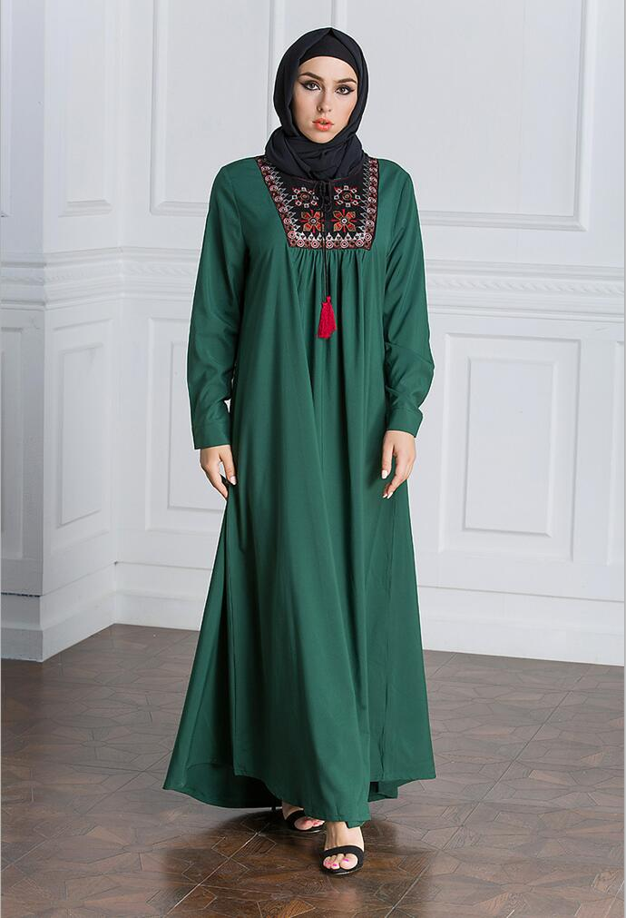 Muslim Dress Women Long Sleeve Embroidery Patchwork Abaya Loose Pakistan Free Plus Size Ethnic Arab Robe Islamic Clothing (13)