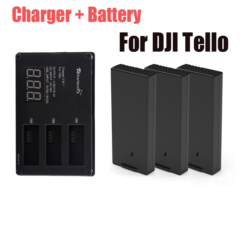Original DJI Tello battery + Drone Tello Battery Charger Charging For dji hub Tello flight Battery Accessories tello battery charging hub designed for use with tello flight batteries accommodate up to 3 tello batteries at the same time
