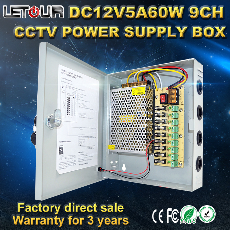 ФОТО 9CH DC 12V 5A CCTV Power Supply Box 60W Camera Centralized Power AC 110V~220V TO DC 12V with Lightning Protection CE FCC Cert