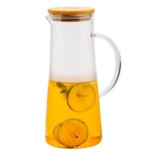 Image 4 - Handgemaakte Borosilicaatglas Water Karaf Geweldig Voor Warm Koud Water Ijs Thee En Sap Drank Rvs Of Bamboe Deksel