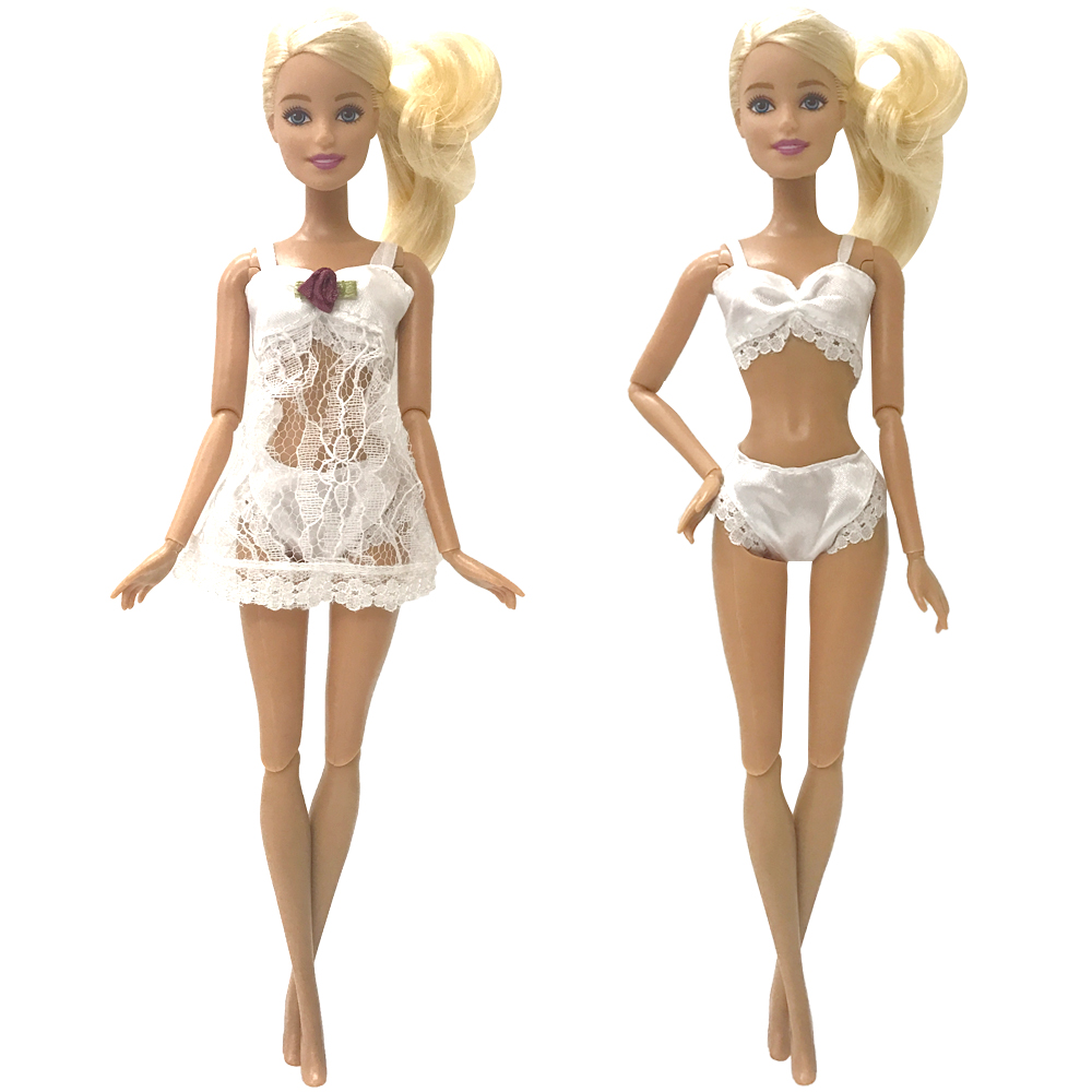 NK 3 Items/ Set <font><b>Doll</b></font> White Pajamas +Underwear+Bra <font><b>Sexy</b></font> Lace Dress Clothes For Barbie <font><b>Dolls</b></font> Accessories Gift For Child 028F image
