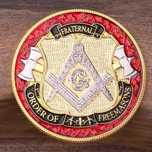 Free Shipping 5pcs/lot,Engravable Freemason Challenge Coin,Custom Masonic Coin