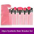 Free Shipping! Profession  24pcs pink color Nylon Hair Cosmetic makeup Brushes set Kit with PU leather Bag maquiagem