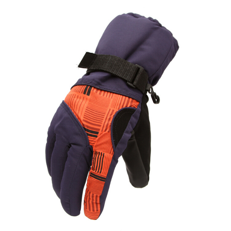 Winter Man Outdoor Sports Waterproof Thickening Climbing Skiing Gloves(Dark purple orange)