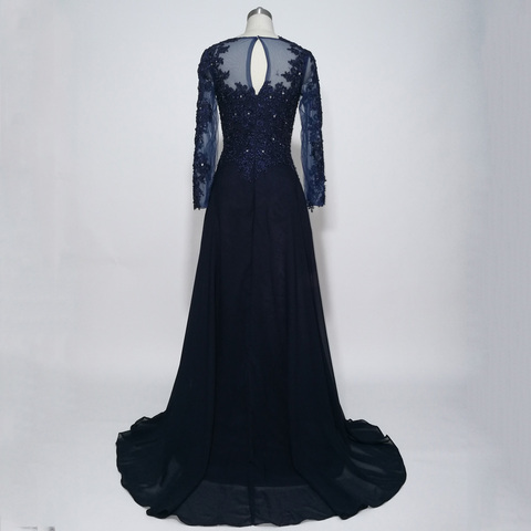 JIERUIZE Dark Navy Blue Long Sleeves Evening Dresses Lace Appliques Beaded Formal Dresses Mother of the Bride Dresses Lahore