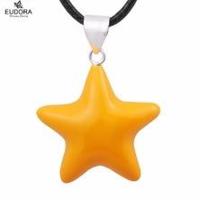 Mujeres embarazadas N14NB126 estrella amarilla armonía bola llamador del ángel carillón bola colgante + collar de la joyería