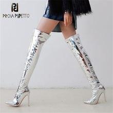 Prova perfetto moda prata sobre o joelho botas mulher apontou dedo do pé fino botas de salto alto inverno quente botas longas tamanho grande 30-48