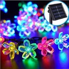 Novelty Solar Garden Light 50 leds 7M Peach Flower LED String Fairy Lights Garlands Night Lamp Christmas Decor For Outdoor