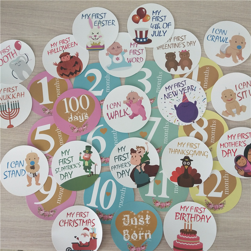 32 PCS DIY Baby Monthly Photograph Stickers Cute Cartoon Toddler Milestone Stickers 1-12 Month Scrapbook Photo Album Photo Prop