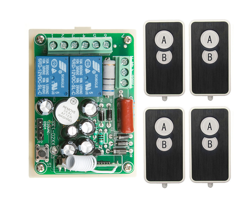 AC220V 2CH Wireless Remote Control Switch System 1*Receiver + 4*Ultra -thin acrylic Transmitters for Appliances Gate Garage Door
