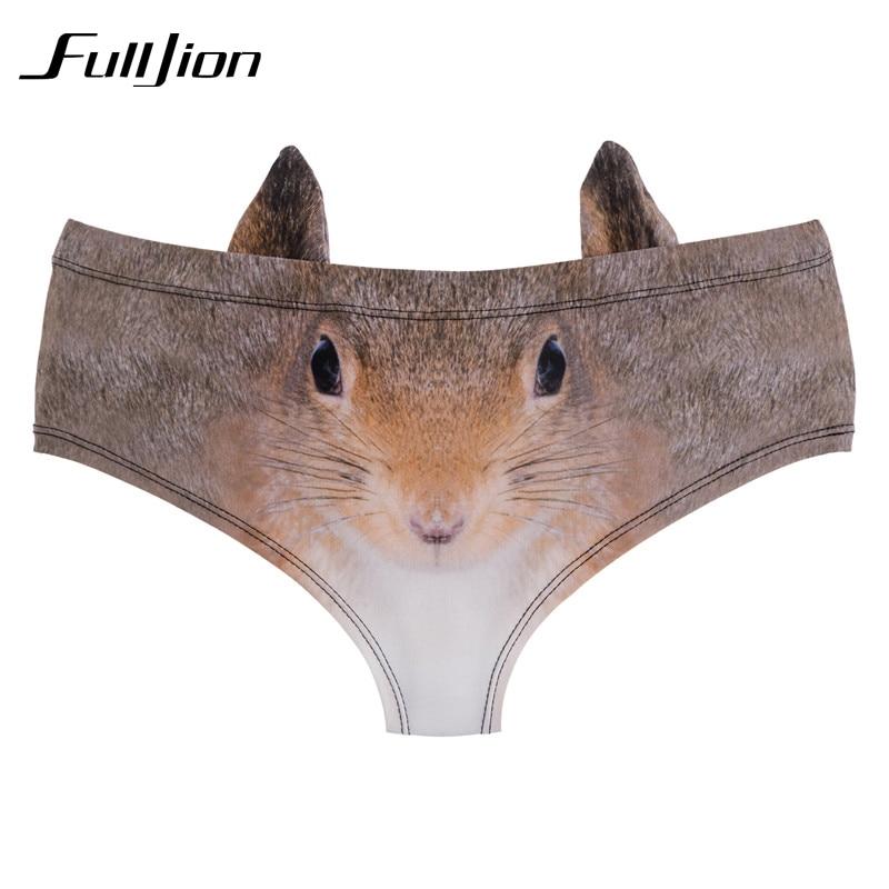 Buy Fulljion New Fashion 3D Printed cartoon animal  Femme Sexy Underwear Women Calcinha Feminina Ears Cute Panties briefs thong