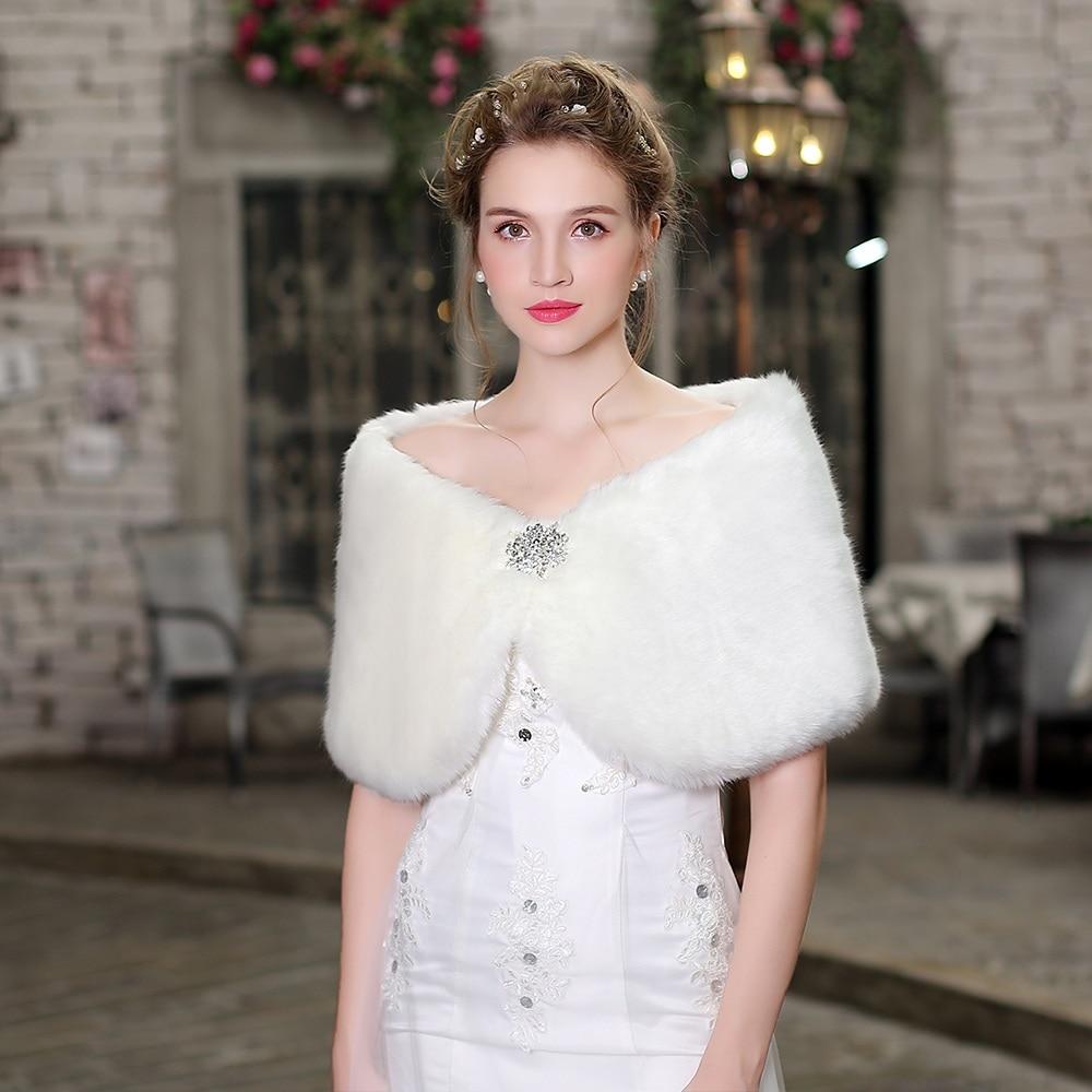 New Fashion Faux Fur Wrap Short Capelete Bridal Bridesmaids Wedding Fall Winter Shawl Accessories Women Warm Cover Up Stole