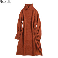 Readit Patchwork Dress 2017 Autumn Winter Woman Dress Casual Knitted Dress Long Sleeve Turtleneck A Line