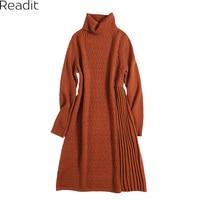 Readit Patchwork Dress 2017 Autumn Winter Woman Dress Casual Knitted Dress Long Sleeve Turtleneck A-Line Vestidos D2720